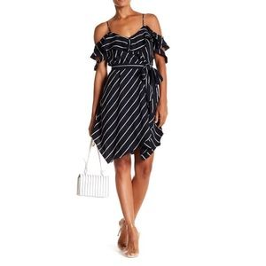 KENDALL+KYLIE Blue Pinstriped Ruffle Wrap Dress